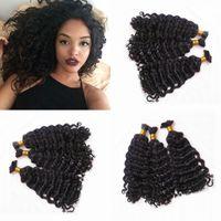 Wholesale human braiding hair deep wave online - 100 Real Human Hair Deep Wave Hair Bulk For Braiding Bundles Peruvian Human Hair Natural Color FDSHINE