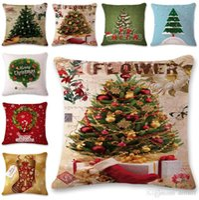 Wholesale blue linen bedding resale online - 45 CM Square Throw Pillow Case Merry Christmas Santa Claus Cotton Linen Cushion Cover Pillowcase Xmas Party Home Sofa Bed Decor