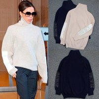 blusas de cor clara venda por atacado-Camisolas e pulôveres de mulher Victoria Beckham gola oliva 70% Lã a camisola de malha solta lisa de cor sólida cardigan