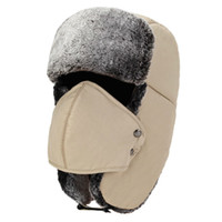 Wholesale russian men caps resale online - Winter Faux Fur Trapper Cap Warm Thicken Russian Ushanka Hat with Removable Windproof Facemask Hunter Trapper Outdoor Earmuff Hat