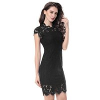 Wholesale lace eyelashes for sale - Group buy S XL Party Lace Dress Women Elegant Sleeveless Floral Eyelash Lace Bodycon Pencil Office Vestidos Silm Colors Clothes Summer