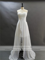 Wholesale flowy beach wedding dresses online - Sleeveless High Low Farm Country Wedding Dress with Pleated Chest Sweetheart Neckline Long Flowy Beach Bridal Gown with Cascade Skirt