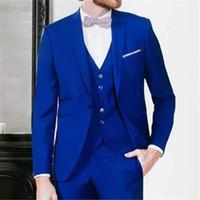 binden blauen mantel hosenanzug großhandel-Neue Königsblau Terno Slim Fit Männer Anzug 3 Stück Neuesten Mantel Hose Design Smoking Nach Maß Blazer (Jacke + Hose + Weste + Krawatte)