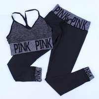 Wholesale tight suits vest - Love Pink Y Stripe Bras Tights Girls Yoga Gym Fitness Sport Sets Pink Letter Underwear VS Women Push Up Elestic Vest Pants Trousers Suit hot