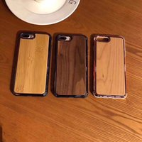 wooden case achat en gros de-Étui en bois véritable pour iPhone X 8 7 6 6 S Plus Couverture Nature Bois Sculpté En Bois De Bambou En Bois + PC Case Pour