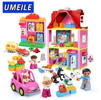 Wholesale princess blocks - UMEILE Brand Duplo Friends Pink City Girl Princess Figure Family House Colourful Kids Building Block Educational Baby Toys Gift