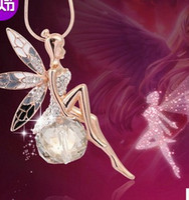 elmas melek kolye toptan satış-80 cm 35g Yeni Kore Kazak Zinciri Melek Kolye Kristal Top Kolye Elmas Kolye Nokta Toplu