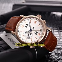 Wholesale rose 31 - Brand Ulysse Perpetual Calendars 326-82 31 322-8 White Dial Automatic Mens Watch Rose Gold Case Leather Strap High Quality Gents Watches
