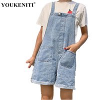 Wholesale loose jeans for women - YOUKENITI 2017 New Women Preppy Style Loose Skinny Denim Overalls Shorts Fashion Wild Casual Blue Jeans Shorts For Women
