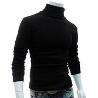 prendas de punto de calidad al por mayor-Cncool New Autumn Mens Sweaters Casual para hombre de cuello alto de hombre negro Solid prendas de punto delgado ropa suéter de alta calidad