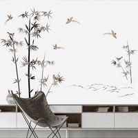 dormitorio de papel pintado de estilo vintage al por mayor-Estilo chino de bambú Vintage Poster vinilo pegatinas de pared salón dormitorio árbol decoración del hogar tatuajes Wallpaper Y18102209