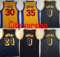 Wholesale Basketball Bryant - 2018 Men City version Jerseys 24 Kobe Bryant 0 Kyle Kuzma 30 Stephen Curry 35 Kevin Durant Swingman 100% Stitched Jerseys College mixed