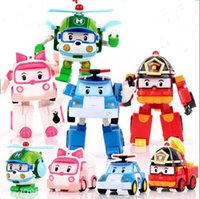 Wholesale kids robots - Deformation Car Poli Robocar Bubble Toys Poli Ambe Roy Helly Robot Transformers Toys Kids Educational Gifts AAA334