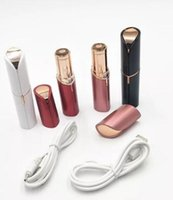 Wholesale portable rechargable battery - USB Rechargable Electric Women Painless Portable Hair Removal For Body Facial Depilator Lipstick Neck Leg Shaving Hair Remover Tool