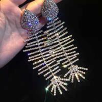 knochen ohrringe für frauen großhandel-Persnality Fashion Show Ohrringe Whte Vergoldet Strass Fischgräte Ohrringe für Mädchen Frauen für Party Hochzeit Nizza Geschenk