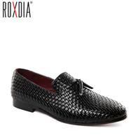 korece erkekler siyah ayakkabılar toptan satış-ROXDIA artı boyutu 39-48 deri kore erkekler ayakkabı moda şık erkek loafer'lar casual flats sürücü ayakkabı siyah mavi gri RXM091