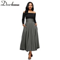 Wholesale maxi red wines - Dear lovers New Autumn Winter Women Gray Retro High Waist Pleated Belted Maxi Skirt S-XXL LC65053 Blue Wine Red Black Pink 2018