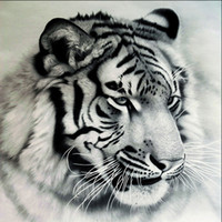 Wholesale tiger canvas wall art - Tiger 5D Diamond Embroidery Painting DIY Handmade Pictuer Resin Diamond Mosaic Wall Painting Poster Arts Gift