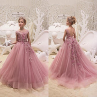Wholesale modern christening dresses - Modern Dusty Pink Flower Girl Dresses with Embroidery Applique 2018 Princess Sheer Cap Sleeves Long Tulle Kids Formal Pageant Gowns