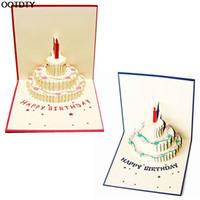 Wholesale valentine postcards - Wholesale- Greeting Card 3D Pop Up Greeting Cards Birthday Cake Happy Birthday Valentines Day Postcard