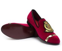 Wholesale handmade flowers heels for sale - New Top Fashion Gold and Metal Toe Men Velvet Italian Shoes for Men Shoes Loafers Handmade Men Dress Oxford Shoes BM155