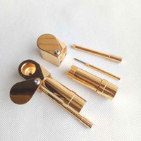 Wholesale golden stockings resale online - Brass Proto Pipe Vaporizer Metal Smoking Pipes Golden Color Ultimate Tool Tobacco Cigarette Hand Dry Herb Pipes Oil Herb Hidden Bowl stock