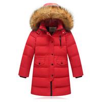 ingrosso piume piuma per abbigliamento-Giacca invernale per bambini in piuma d'oca invernale per ragazzi bambina Parka Cappotto bambina in piumino d'oca per bambini