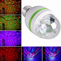 tam dönen lamba toptan satış-Perakende 3 W E27 RGB aydınlatma Tam Renkli LED Kristal Sahne Işık Otomatik Döner Sahne Etkisi DJ lamba mini Sahne Ampul