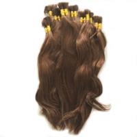 Wholesale remy human braiding hair - Natural Wave 100% Virgin Human Hair Bulk Straight Hair Bulk for Braiding Cabelo Humano Natural Virgin Remy Light Brown Color Loose Hair