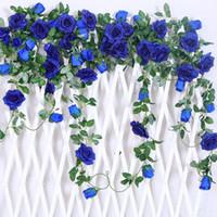 Wholesale Garden Baskets Wall - 6.5Ft Artificial Rose Vine Silk Flower Garland Hanging Baskets Plants Home Outdoor Wedding Arch Garden Wall Decor,Pack of 2 (Royal blue)