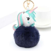 flauschiges einhornspielzeug großhandel-Anime Horse Toy Cute Leder Einhorn KeyChain Plüschtier Anhänger Frauen Fluffy Fur Pom Pom Schlüsselanhänger Tasche Hang Plüschtier