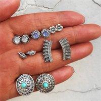 türkis schmuck set blume großhandel-6 Paare / los 2018 Neue Ankunft Ethnische Türkis Blume Ohrringe Set für Frauen Vintage Ohrstecker Schmuck YMCJE009