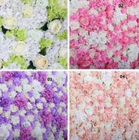 ingrosso spedizione di fiori artificiali-10 pz / lotto 60X40 CM Parete Del Fiore di Seta Rosa Tracery Parete Criptazione Sfondo Floreale Fiori Artificiali Creativo Stage di Nozze spedizione gratuita