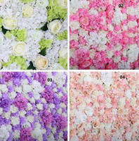 Wholesale Mascot Halloween - 10pcs lot 60X40CM Flower Wall Silk Rose Tracery Wall Encryption Floral Background Artificial Flowers Creative Wedding Stage free shipping