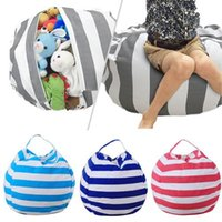 Wholesale sitting bags - Large Capacity Thickened Stuffed Plush Toy Storage Bean Bag Stripe Fabric 5 Color Option