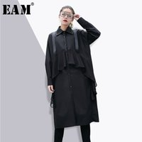 Wholesale types collars dresses - [EAM] 2018 New Spring Fashion Turn-down Collar Long Sleeve Stitching Chiffon Black Shirt Type Dress Women Trendy YC27301