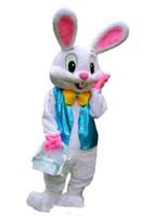 paskalya süslü elbisesi toptan satış-Yüksek kalite sıcak profesyonel Yapmak PROFESYONEL PASKALYA BUNNY MASCOT KOSTÜM Bugs Tavşan Hare Yetişkin Fantezi Elbise Karikatür Suit