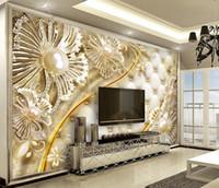 papel pintado decorativo moderno al por mayor-Pintura abstracta 3D 3D estereoscópica personalizado flor moderna 3D Wallpaper para sala de estar pinturas decorativas