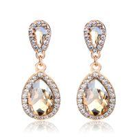 champagner modeschmuck großhandel-Lange große Kristall Ohrringe Modeschmuck Hochzeit Vintage Tropfen Champagner Ohrringe für Frauen
