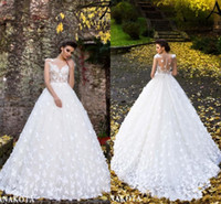 bd57d87185 Beautiful White Butterflies Hand Made Flowers Flare Fitted Bridal Wedding  Dresses New Sheer Neck Cap Sleeves Appliques Long Bridal Gowns