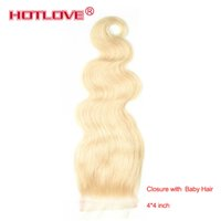 Wholesale 613 Blonde Closure Free Part Brazilian Virgin Straight Human Hair Closure with Baby Hair Brazilian Body Wave Top Quality Kinky Curly