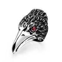 roter augenring großhandel-2018 New Fashion Red Eye Adler Olecranon Männer Ring Edelstahl Punk Style Vintage Schwarz Titan Anillos Männlichen Schmuck 6C0262