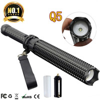 Wholesale Q5 LED Flashlight Telescopic Self Defense Stick LM Mode Torch Lights Outdoor Patrol Rechargeable Flashlights