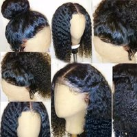 Wholesale Medium Length Hair Wigs - 360 Lace Frontal Wig 130% Density Full Lace Human Hair Wigs For Black Women Brazilian 360 Lace Wig with Baby Hair kinky curly