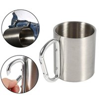 ручка для кемпинга оптовых-Portable Stainless Steel Mug Outdoor Travel Camping Drinking Cup With Carabiner Handle Camping Hiking Outdoor Sports Water cup