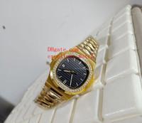 sarı siyahı mekanik izle toptan satış-Yeni Lüks saatler 40mm Nautilus 5713 / 1G-010 18 k Sarı Altın Elmas Çerçeve Siyah Dial Asya Otomatik Mekanik erkek Izle Kol Saati