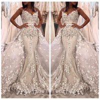 Wholesale sexy middle east black applique - Luxurious 2018 Sweetheart Mermaid Detachable Train Wedding Dresses Beaded Bridal Gowns With 3D Floral Adorned Custom Garden Middle East