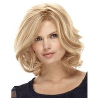 Wholesale 12 inches blonde lace wig resale online - 12 inches women s wig Synthetic Lace Front Wig Ombre Blonde Short Wigs for Women African American Middle Part Loose wave