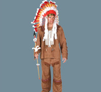 erwachsene indische halloween-kostüme großhandel-IREK New Halloween Kostüm Erwachsene Männlichen Luxus Indian Chief cosplay Kostüm Fabrik Direkt Hohe Qualität