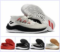 Wholesale Fabric Dye Shoes - 2017 New Damian Lillard 4 Men Basketball Shoes Dame 4 Rip City White Black Red Un-Dyed Signature Sports Mens Brand Sneakers US 7-12